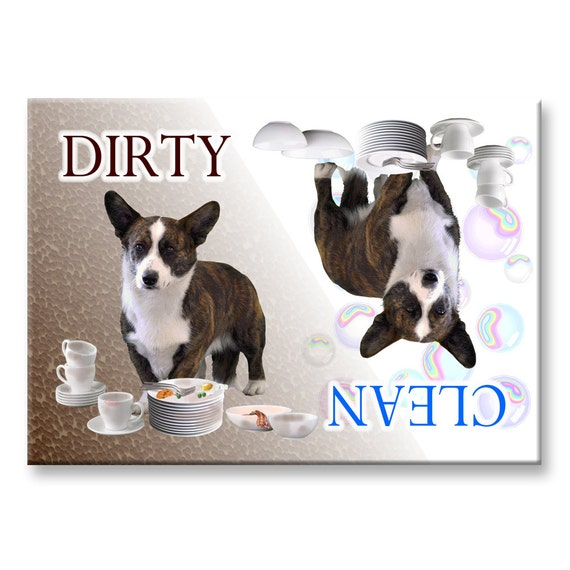 Cardigan Corgi Clean Dirty Dishwasher Magnet