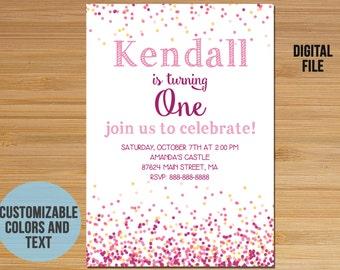 Conffeti First Birthday Invitation, Confetti Invitation Invite, First Birthday Invitation for girl, Confetti party, Any age