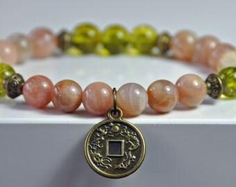 Success Bracelet,Sunstone, Peridot,Lucky Coin Mala Gemstone Bracelet,Chakra Bracelet,Buddhist Jewelry,Healing Meditation,Buddha Yoga Mala