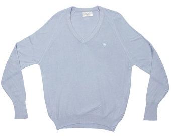 SALE!  Light Blue Christian Dior V Neck Sweater - CD Monsieur  Vneck Pullover Pull Over Designer Jumper - Men's Size Large L