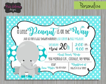 Blue Elephant Shower, Elephant Shower, Baby Boy Shower, Little Peanut Shower, Elephant Shower Invite, Little Peanut Invite, DIGITAL FILE