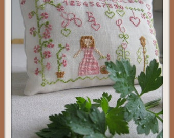 "Cross (cross stitch) ""A garden love"" stitch grid/sheet of in the closet of my family home"