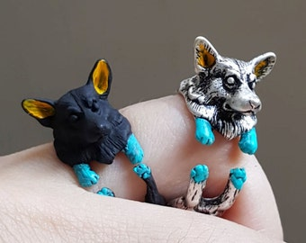 Corgi ring, Custom Colored Animal Wrap ring, Dog Ring, Puppy Ring, Birthday Gift