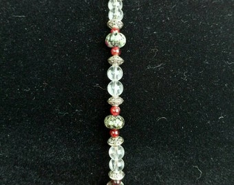 Ruby Zoisite and Quartz Bracelet with Silver accents