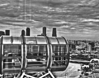 Singapore Flyer Black and White Framed and Mounted Print
