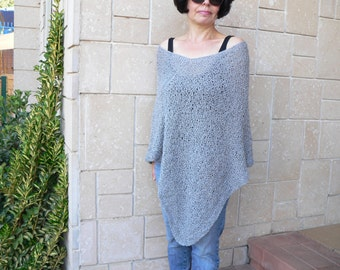 Silver Grey Hand Knit Woman Poncho Sweater Elegant Shawl Top Loose Neckline Cape Plus Size Wraps  Soft Acrylic Yarn