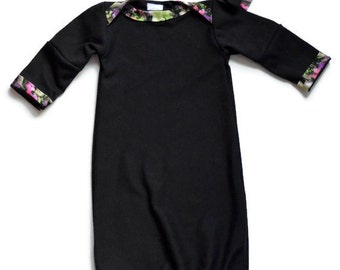 Black and Garden Rose Baby Gown