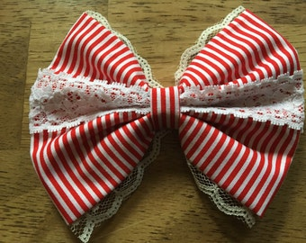 Red Stripe Bow