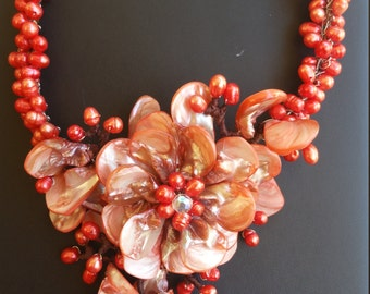 Statement Necklace Orange/Red Pearls and Shells
