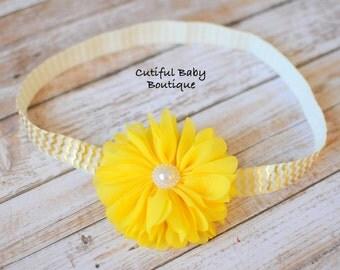 Yellow Ballerina Fold Over Elastic Headband, Fabric Headband, Baby Headband