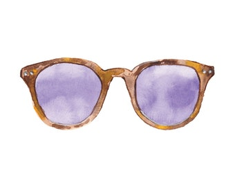 Watercolour Tortoise Shell Pattern Sunglasses with Purple Lenses Illustration