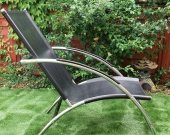 Retro Chair Vintage Black Tubular Chrome  Lounger Chair Faux Leather Art Deco Style