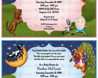 Hey Diddle Diddle Baby Shower Invitation, Hey Diddle Diddle Baby Shower Party Packs