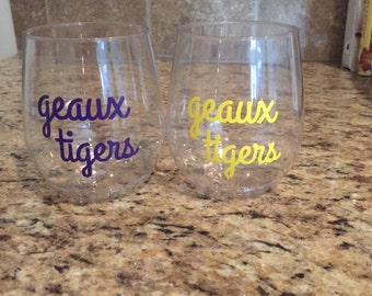 Geaux Tigers Plastic Wine Glass Set