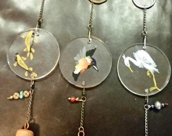 Hand Painted Acrylic Disc Single Bell Wind Chimes