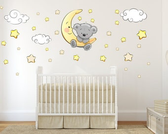 064 Wandtattoo Teddy on Moon clouds star sleeping baby wall decoration * nikima * in 6 verse. Sizes