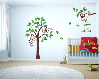066 wall stickers XXL tree branch with monkey leaves kids baby rooms * nikima * in 3 verse. Sizes