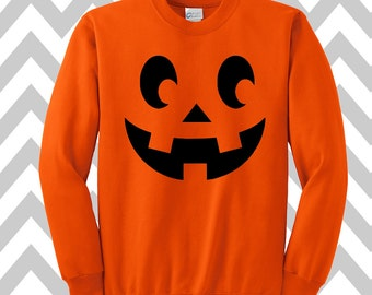 Pumpkin Face Jack-O-Lantern Halloween Sweatshirt Unisex Scary Pumpkin Face Halloween Tank Top Pumpkin Face Tee Halloween Costume Party Shirt