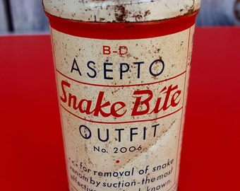Vintage Asepto Snake Bite Outfit, Home Medicine Cabinet, Medicine Artifact, Collectible Tin, 1930s