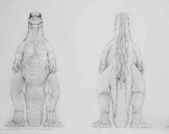 """Mark """"Crash"""" McCreary Dessin conceptuels original du Film Godzilla 1997"""