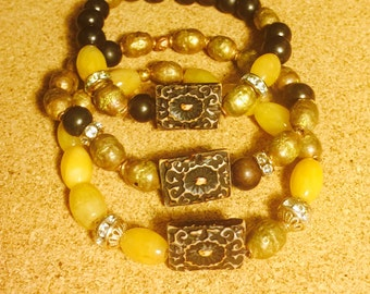 Tibetan inspired Wood, Brass and Yellow Agate Bracelet