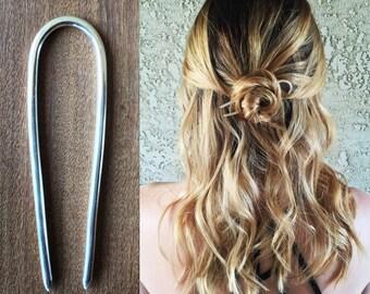 Small Silver Hair Pin, Silver Hair Fork, Handmade Metal Bun Holder, Sterling Silver Hair Pick