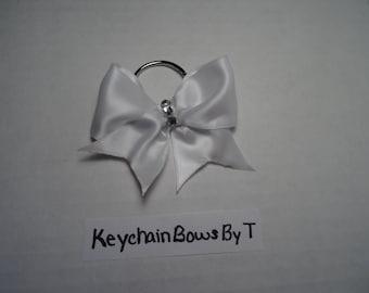White Shine Keychain Cheer Bow