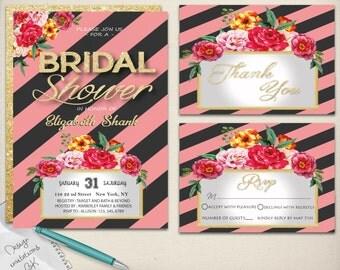 Watercolor Bridal Shower Invitation,Wedding Shower Invitation,Pink Bridal Shower Invite,Watercolor flower bridal,DIY Printable Bridal Shower