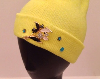 Bright yellow women's beanie/slouch with embellishment