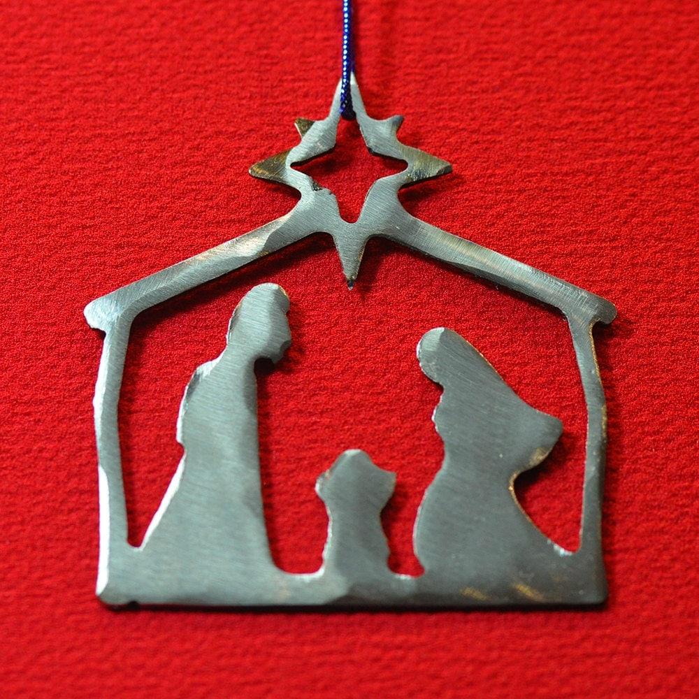 Metal christmas ornament nativity scene