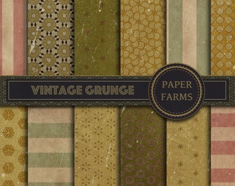Vintage grunge digital paper, Vintage digital paper, Vintage scrapbook paper, Distressed digital paper, instant download