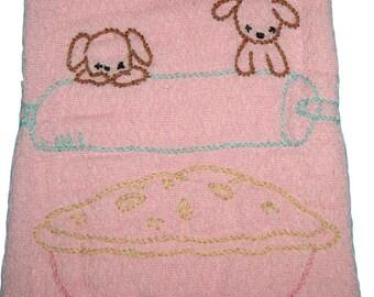 Puppies Baby Burp Rag, Burping Cloth, Baby Burp Cloth, Pink, Puppies and Pie, Burping Cloth, Burp Rag