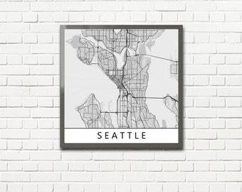 Minimalist Map Print of Seattle, Washington (fits square frame)