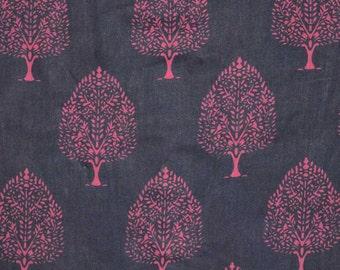 Navy Blue and Purple Flower Sanganeri Traditional Block Print Cotton Fabric