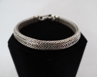 Vintage Oxidized Silver Interlocking Bracelet