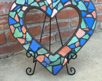 Sea glass mosaic tile heart