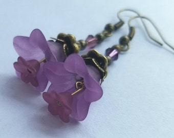 Triple Purple and bronze earrings