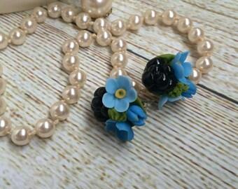 blackberry earrings, cold porcelain, flower necklace, blue earrings, gift for her, rustic style, studs earrings, custom earrings