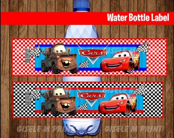 Cars Water Bottle Label, Printable Cars Water labels, Cars party Water instant download