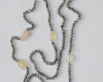 Hand-knotted Labradorite, Aquamarine and Moonstone Long Necklace