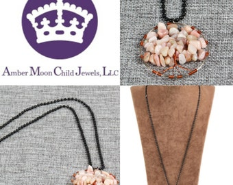 Handmade Natural Pink Opal wire crochet 'Tree of Life' Pendant with black chain