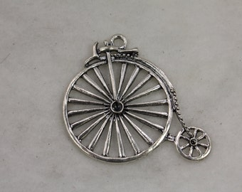 10 pcs Big Wheel Vintage Bicycle Circus Charm Silver Plate