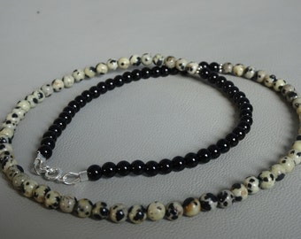 Men's Necklace of natural Onyx and Dalmatian jasper with 925 sterling silver between beads and clasp-gemstone necklace