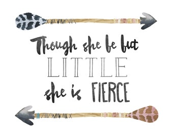 Arrow Printable / Nursery Printable / Though She Be But Little Print / Baby Girl Nursery Art / Nursery Print / Arrow Art / Instant Download