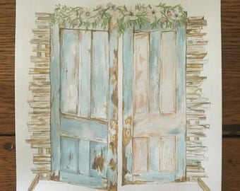 Farmhouse door watercolor illustration