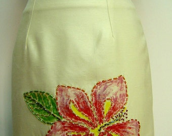 Hand-made, hand-painted and beaded Pencil Skirt