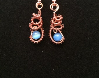 Copper Wire Wrap Blue Bead Earrings