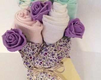 Lilac hand-tied baby clothes bouquet
