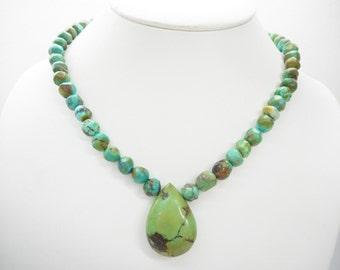 Turquoise Necklace, Southwestern Necklace, Turquoise Strand Necklace, Green Turquoise, Sterling Turquoise Necklace, Vintage Necklace, #2189