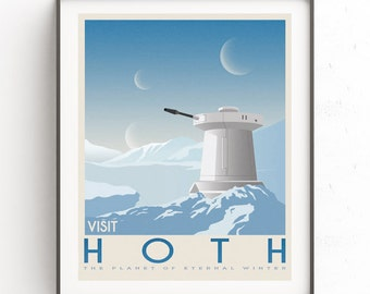 Hoth poster. Starwars retro travel. Ice planet. Vacation poster. Tauntaun movie. Empire strikes back. Echo base rebel. Snowspeeder print